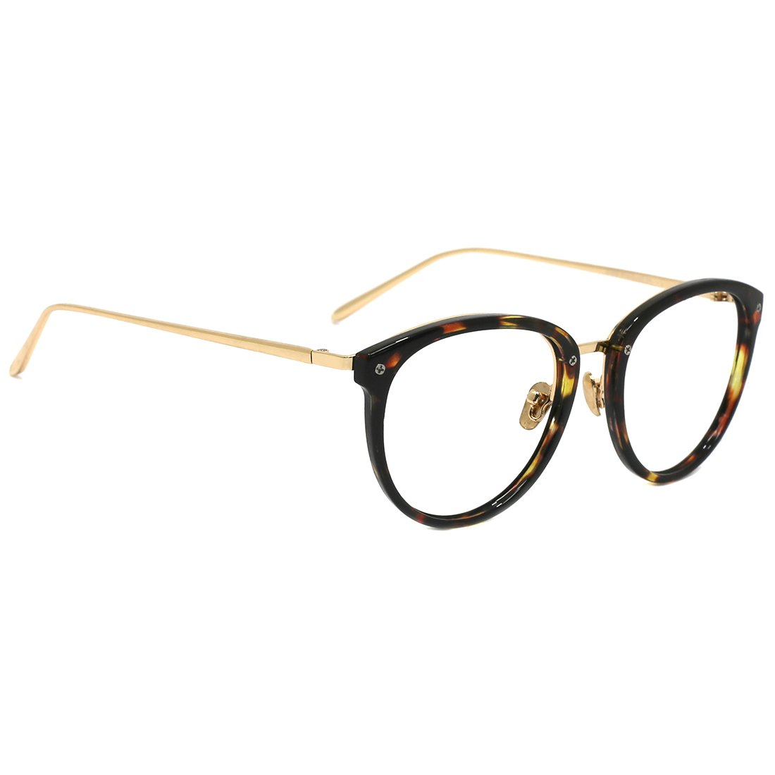 TIJN Round Blue Light Filter Computer Glasses Eyeglasses for Women Transparent Lens((Blue Light Block) Tortoise, 50) by TIJN (Image #2)