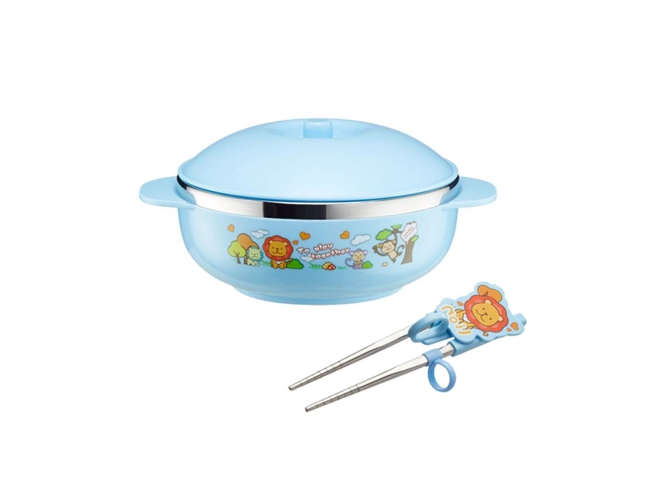 Yuchoi Contemporary Animal Pattern Baby Feeding Bowl Anti-Scald Stainless Steel Children Dish Insulation Bowl with Lid and Double Handles for Kids Students(Blue)
