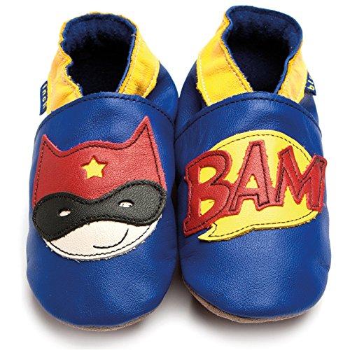 Inch Blue Mädchen/Jungen Schuhe für den Kinderwagen aus luxuriösem Leder - Weiche Sohle - Superheld Kobaltblau
