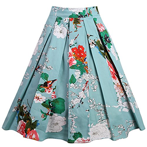ntage A-Line Printed Pleated Flared Midi Skirts Bird-Flower Medium (Medium Womens Skirt Dress)
