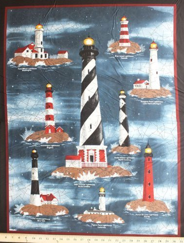 Harbor Lights USA Canada Lighthouses Wallhanging Cotton Fabric Panel D767.07