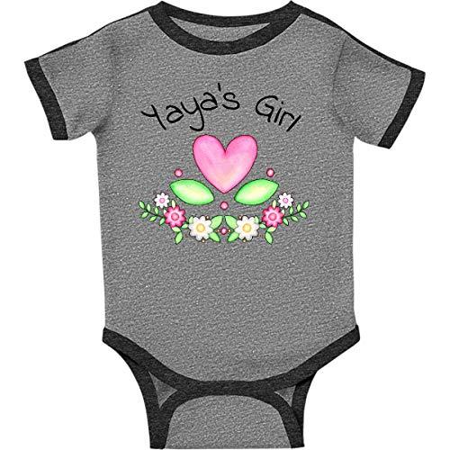 inktastic Yayas Girl- Heart Infant Creeper Newborn Ringer Heather and Smoke