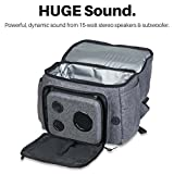 Backpack Cooler With 15-Watt Bluetooth Speakers & Subwoofer for Parties / Festivals / Beach / School. Rechargeable Cooler Backpack, Works with iPhone & Android (Gray, 2018 Edition)