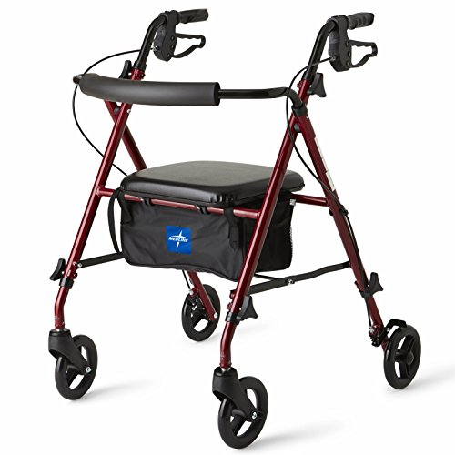 Medline Freedom Mobility Lightweight Folding Aluminum Rollator Walker with 6-inch Wheels, Adjustable Seat and Arms, Burgundy by Medline (Image #1)