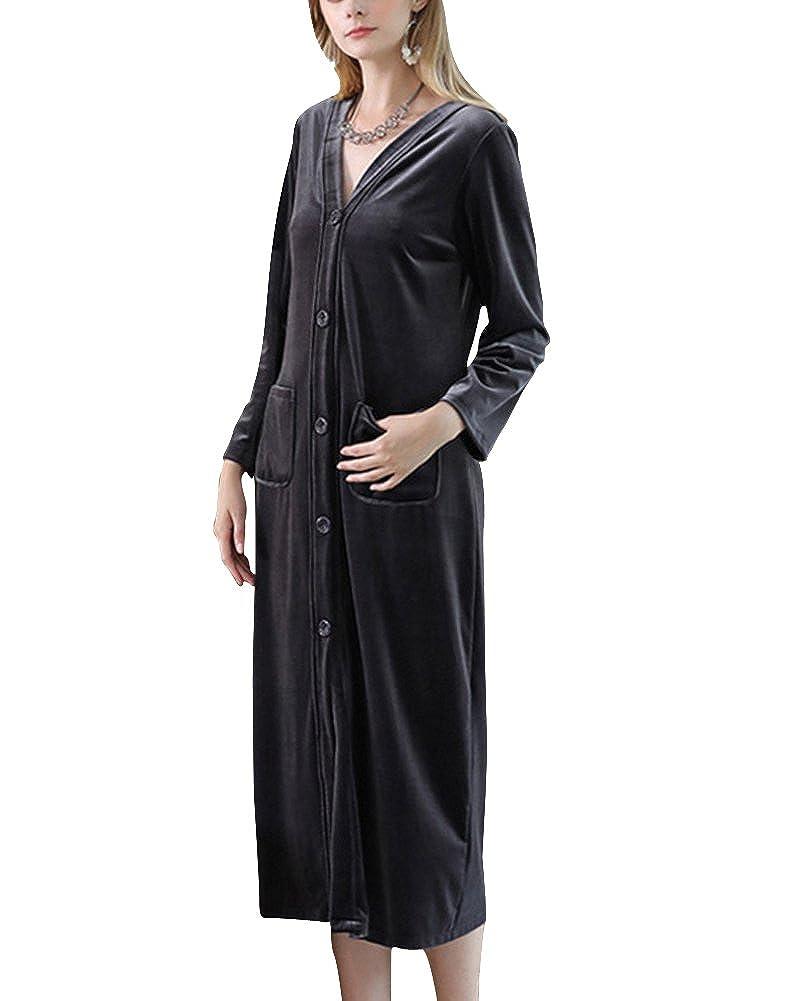 Donna Vestaglie Pigiama Kimono Scollo a V Camice da Notte Lungo da Notte