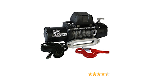 9500lbwith 5.5hp Series Wound Motor, 100 Ft. Synthetic Rope, CNC Billet Aluminum Hawse Fairlead Bulldog Winch 10045 Standard Winch 1 Pack