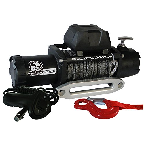 Bulldog Winch 10045 Winch (9500lbwith 5.5hp Series Wound Motor, 100 Ft. Synthetic Rope, CNC Billet Aluminum Hawse Fairlead)