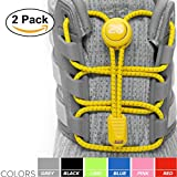 2SPORTIFY [2 Pack] No Tie Shoelaces for Kids and Adults - Tieless Elastic Shoe lace with Lock for Sneakers Rubber - Round Shoe Laces