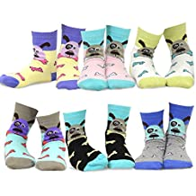TeeHee Kids Girls Cotton Fashion Animals Face Design Socks 6 Pair Pack