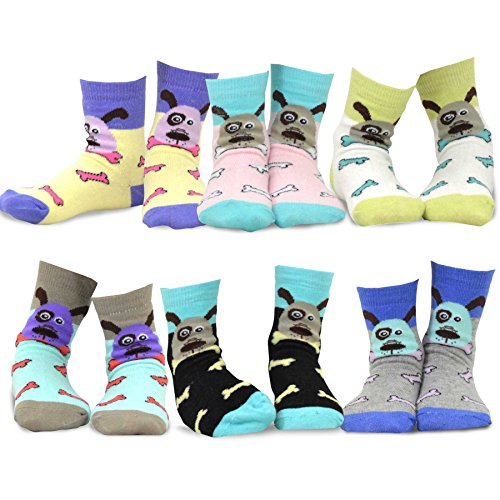 TeeHee Kids Girls Cotton Fashion Animals Face Design Socks 6 Pair Pack (3-5Y, Dog's (Designs Baby Face)