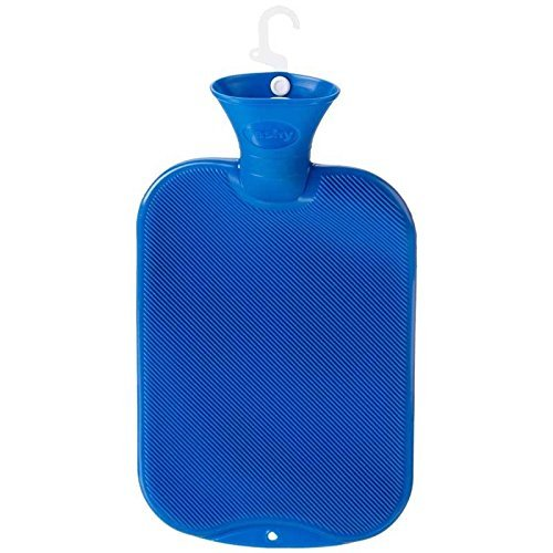 Fashy Classic Hot Water Bottle Single Ribbed 2.0L, Blue by Fashy