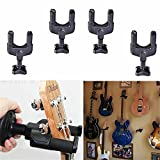 Jahyshow 4Pcs Guitar Hanger Auto Lock Rack Hook Stand Holder Keeper Wall Mount Bracket Home Studio Display Fits All Size Guitar, Acoustic, Bass, Mandolin, Banjo Easy Installation Compact Plastic Black