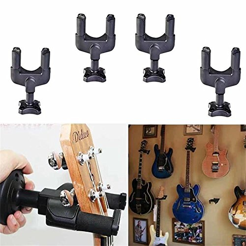 Jahyshow 4Pcs Guitar Hanger Lock Rack Hook Stand Holder Keeper Wall Mount Bracket Home Studio Display Fits All Size Guitar, Acoustic, Bass, Mandolin, Banjo Easy Installation Compact Plastic Black