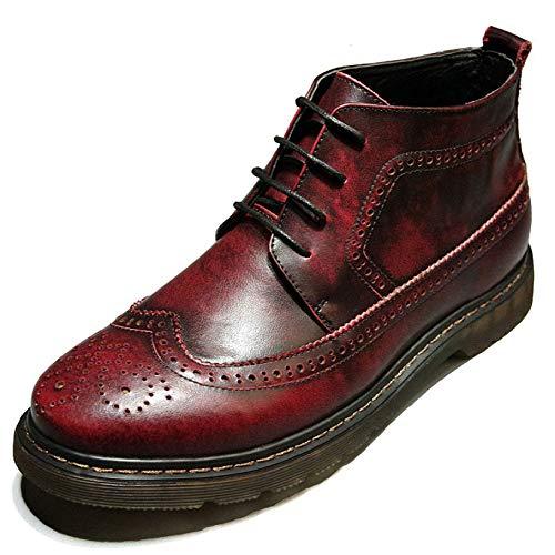 Stivali Stivali Martin da Uomo Bullock Stivaletti Stringati Vintage in Vera Pelle Stivaletti Casuali Red