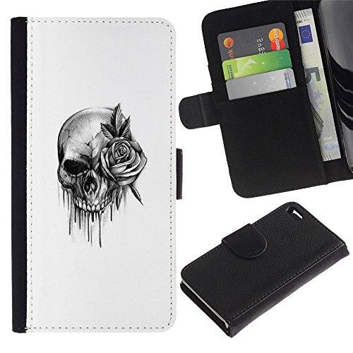 LASTONE PHONE CASE / Luxe Cuir Portefeuille Housse Fente pour Carte Coque Flip Étui de Protection pour Apple Iphone 4 / 4S / skull rose rock roll death metal ink