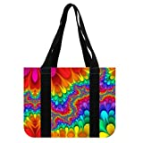 Multi Purpose Stylish Rainbow Meditation Tie Dye Theme Design 100% Canvas Durable Tote Bag(Two Sides) 14.4L x 10.4H