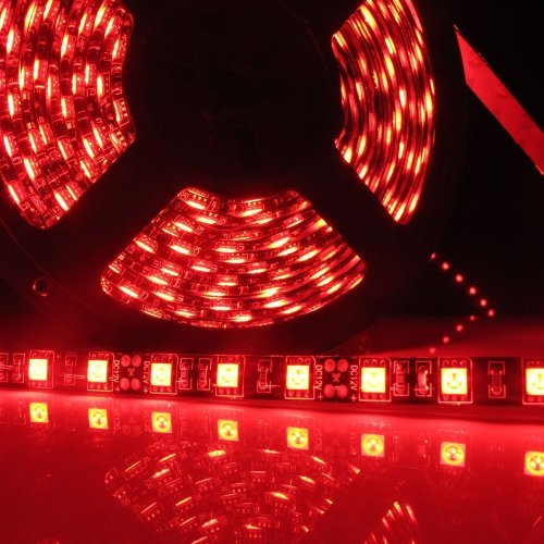 Led World Black PCB 5M 5050 SMD 300 Leds Red Color Waterproof Flexible Strip Lights DC12V