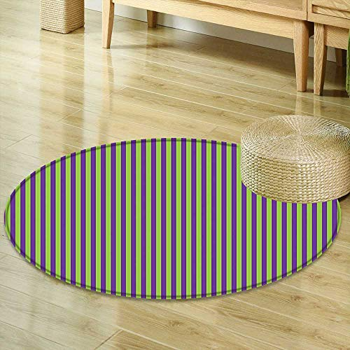 Wallpaper Retro Contemporary (Mikihome Round Area Rug Pop Art Decor Vintage Retro 50s 60s Style Bold Stripes Rooms Wallpaper Image Royal Blue and Lime Green Indoor/Outdoor Round Area Rug R-24)