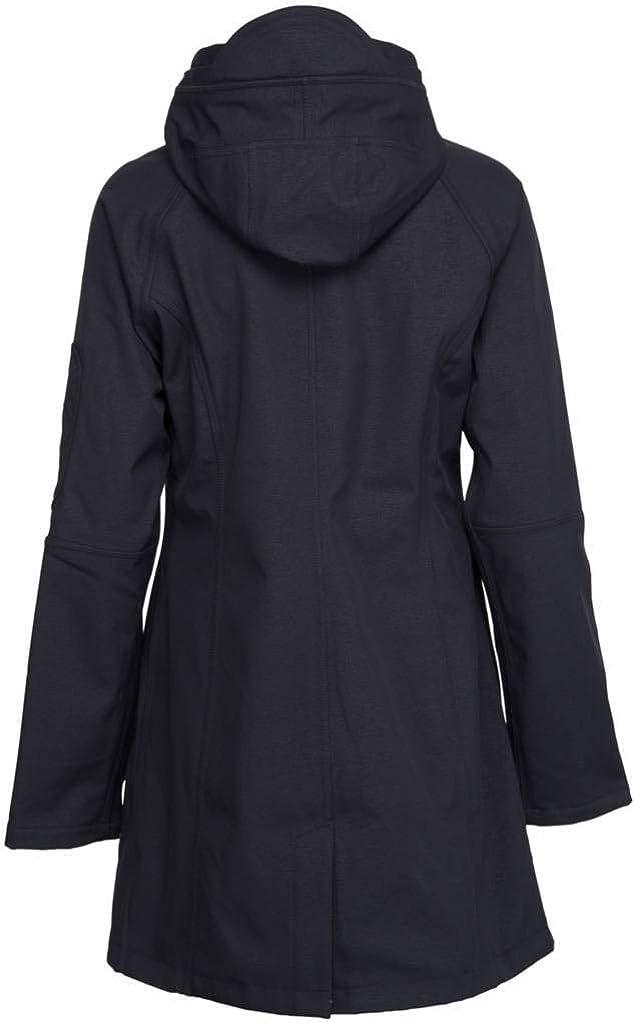 Ilse Jacobsen Klassiche Damen Jacke /¾ lang atmungsaktiv mit Kapuze Outdoor Regenjacke wasserdicht aus Softshell Polyester und Elastan RAIN37 Winddicht