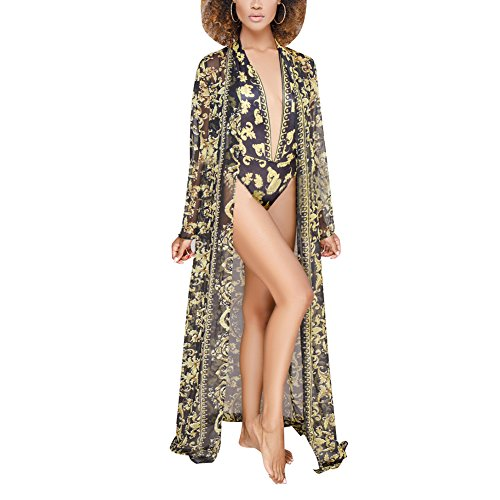 Print Bikini Set - Women's Floral Print Swimwear Multiwear Long Sleeve Cover up + One-Piece Bikini Romper Swimsuit Set XX-Large Black