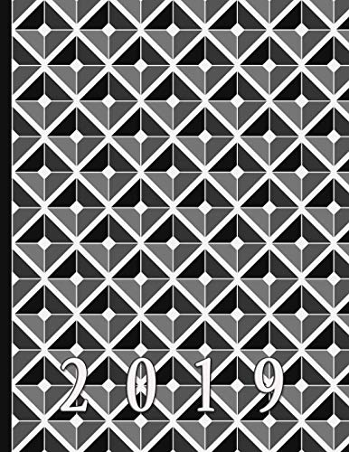 Geometric Diamond Shapes in Black, White, and Greys: 2019 Schedule Planner and Organizer / Weekly -