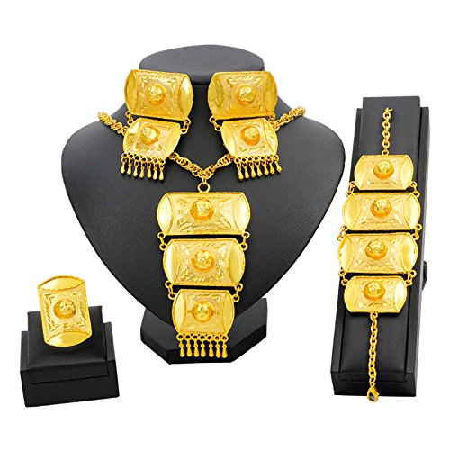 liffly Big Dubai Gold Necklace Jewelry Set Luxury Long Wedding Earrings Ring Bracelet Classic Symbol