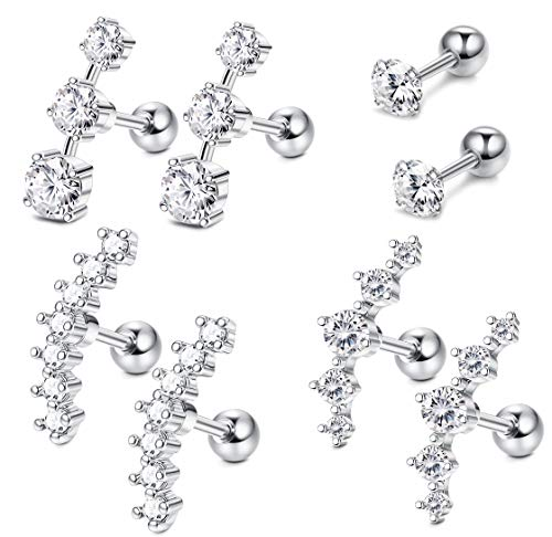Fiasaso 4 Pairs 16G Ear Cartilage Earrings for Women Stainless Steel Helix Earrings Stud Conch Piercing Jewelry