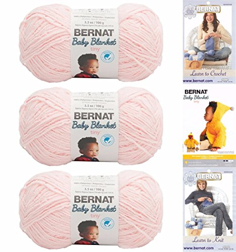 Bernat Baby Blanket Tiny 3 Pack 100 Percent Polyester Gauge Medium 4 Worsted Bundle (Hush Pink) - Bernat Pink Knitting Yarn