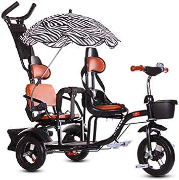 JHGK Triciclo Biplaza, Carro De Compras Doble Ciudad De Acero con Alto Contenido De Carbono, Triciclo con Marco Trasero De Sombrilla, Triciclo Biplaza Tricycle,Negro