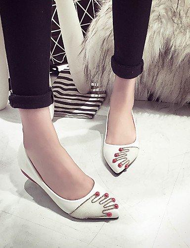 pisos white PDX punta vestido cn39 uk6 casual us8 carrera libre al blanco cuero aire negro zapatos mujer y eu39 redonda plata sintético oficina de H60nrxHq