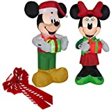 Inflatable Mickey And Minnie Christmas Yard Decorations Bundle, 5 Feet Tall, Self Inflatable With Energy Efficient LED With Large Red Bow For Front Door
