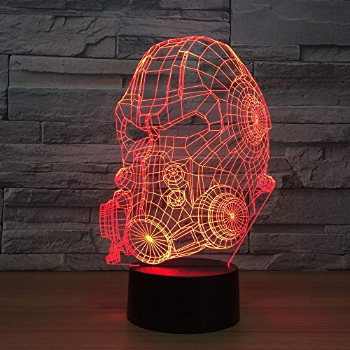 (RTYHI Gas Mask Model 3D LED Lamp 7 Colors Changing USB Touch Sensor Desk Table Lamp USB Night Light Atmosphere Lamp Gift,Touch Switch)