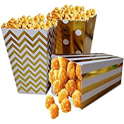 Popcorn Boxes, Gold Stamping Trio (36 Pack) Polka Dot, Chevron, Stripe treat boxes- Small Movie Theater Popcorn Paper bags for Dessert Tables & Wedding Favors