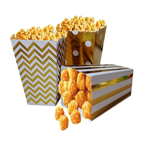 Popcorn Boxes, Gold Stamping Trio (36 Pack) Polka Dot, Chevron, Stripe treat boxes- Small Movie Theater Popcorn Paper bags for Dessert Tables & Wedding ()