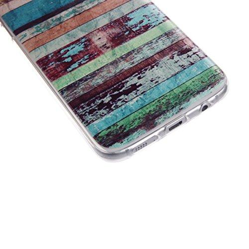 Funda Samsung Galaxy S7 EDGE AllDo Carcasa Silicona Caucho Funda Transparente Clara Soft Slim Case Cover Bumper Carcasa Protectora Funda Blanda Suave Flexible Caja Ultra Delgado Ligero Casco Anti Rasg Grano de Madera Colorido
