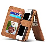 RAYTOP iPhone 7 Leather Case With 15-Slots Wallet [Inside Phone Cover Can Be Removed] See Through ID Card Holder Kickstand Function Magnetic Button Classic Vintage Fashion Design (Brown for iPhone 7)
