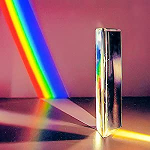 Domeye Optical Glass Triangular Prism for Teaching Light Spectrum Physics with Convex, Prism Photography, Educational Toys