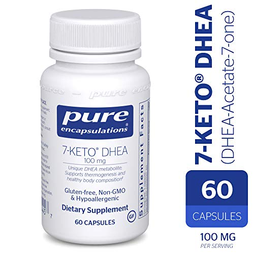 Pure Encapsulations - 7-Keto DHEA (DHEA-Acetate-7-one) 100 mg - Unique DHEA Metabolite - Hypoallergenic Dietary Supplement - 60 Capsules