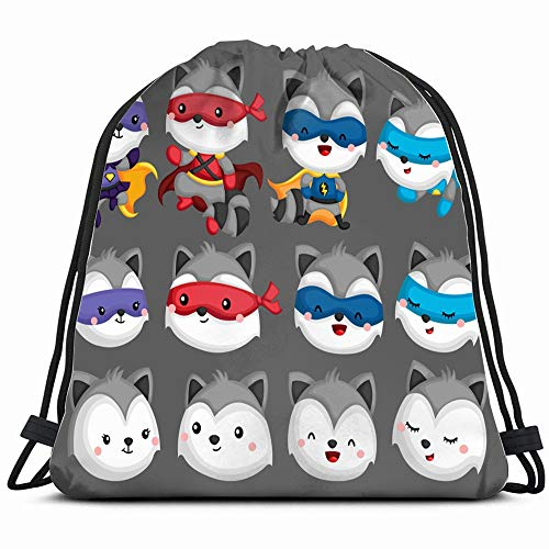 Set Many Raccoon Superhero Costume Animals Wildlife Animal Drawstring Backpack Sports Gym Bag For Women Men Children Large Size With Zipper And Water Bottle Mesh Pockets]()