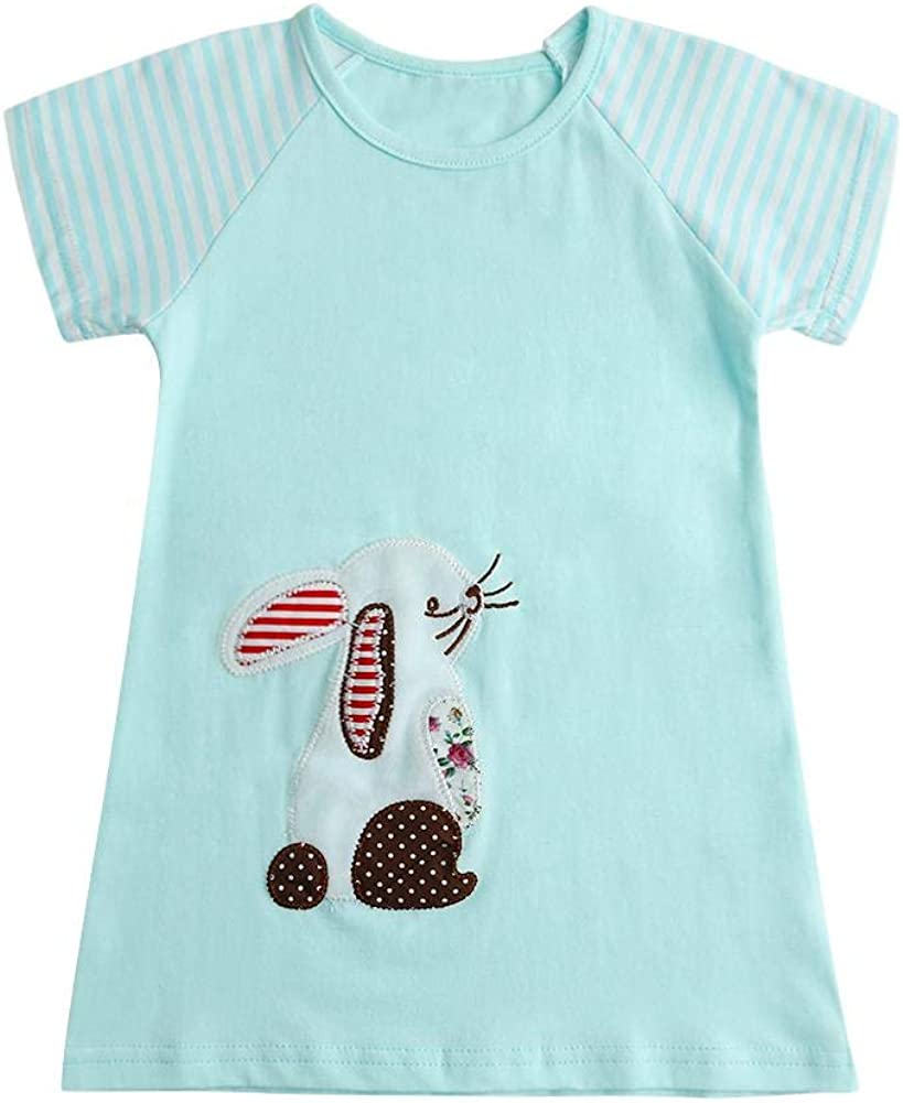 chinatera Little Girls Dress Toddlers Rabbit Embroidery Pockets Girl Party Dresses Tops Clothes