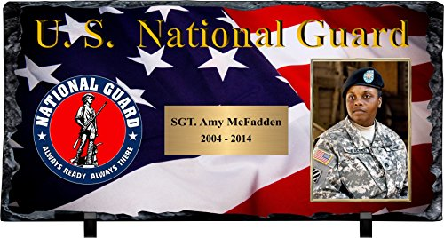- Personalized National Guard Slate Stone Plaque with Photograph & Engraving.