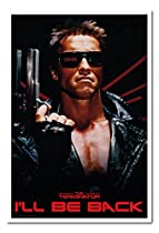 The Terminator I'll Be Back Poster Magnetic Notice Board White Framed - 96.5 x 66 cms (Approx 38 x 26 inches)