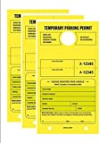 TEMPORARY PARKING PERMIT - Mirror Hang Tags, Numbered with Tear-Off Stub, 7-3/4'' x 4-1/4'', Bright Fluorescent Yellow, 50 Per Pack - Triple-Pack (150 Tags)