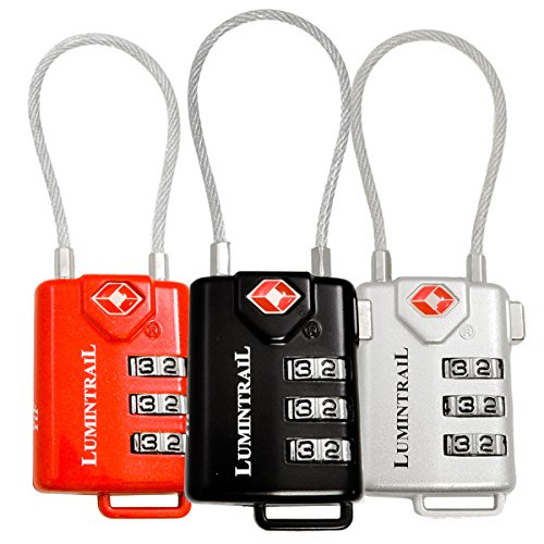Lumintrail 3 Pack TSA Approved Cable Travel Locks Combination Luggage - (Multi) by Lumintrail