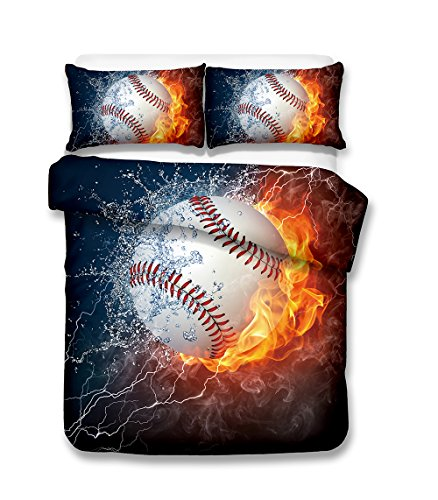 Damara cool baseball series 3D Bedding Set Print Duvet Cover Set Lifelike Bed Sheet #01 (3, Twin)