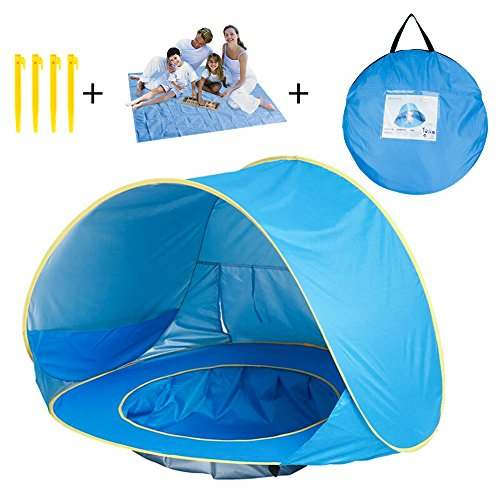 DX DA XIN Baby Beach Tent, Pop Up Baby Sun Shelter with Pool Shade UV Protection Baby Pool Tent with Beach Blanket Sand Free