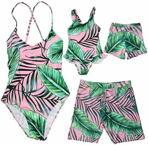 Family Matching Blue/&White Striped Swimwear Mom/&Girl 1 Piece Single Shoulder Monokini Dad/&Boy Swim Shorts
