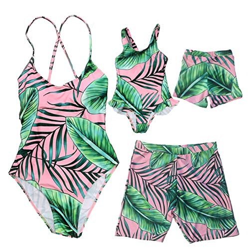 Family Matching One Piece Leaf Print Swimsuit Mommy&Me Round Neck Open Back Ruffles Monokini Daddy&Me Swim Shorts (Girl, Girl/ -