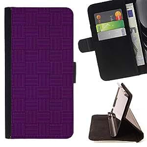 - Purple Weave Pattern Dark Monotone - Estilo PU billetera de cuero del soporte del tir???¡¯????n [solapa de cierre] Cubierta- For Apple Iphone 6 PLUS 5.5 £¨ Devil Case £©