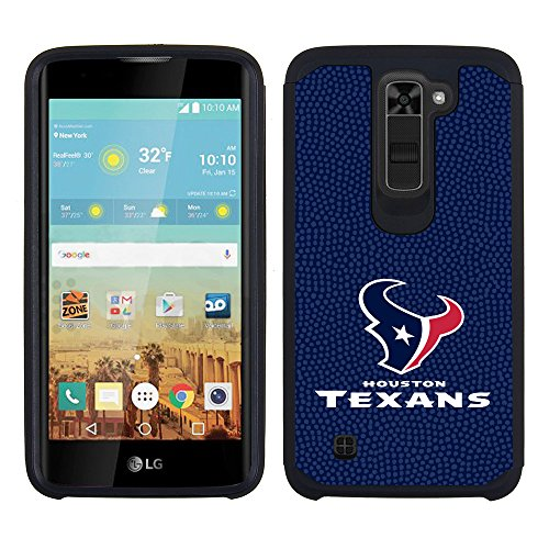 LG K10 NFL Licensed Houston Texans Navy Blue Pebble Grain Back Cover On Black TPU Skin
